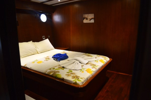 The spacious double-bed cabin of the Muhtesem-A gulet provided ultimate comfort
