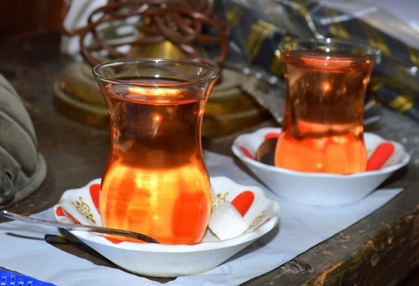 A delicious glass of apple tea in Turkey