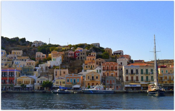 Symi lots of houses at harbour