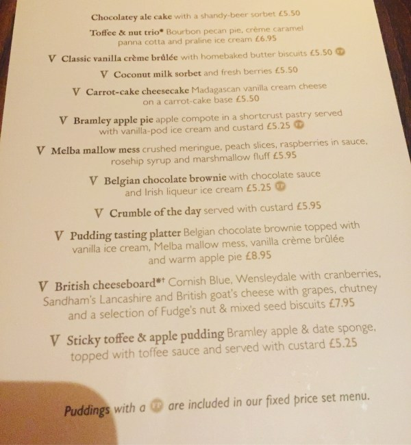fox and raven pudding menu