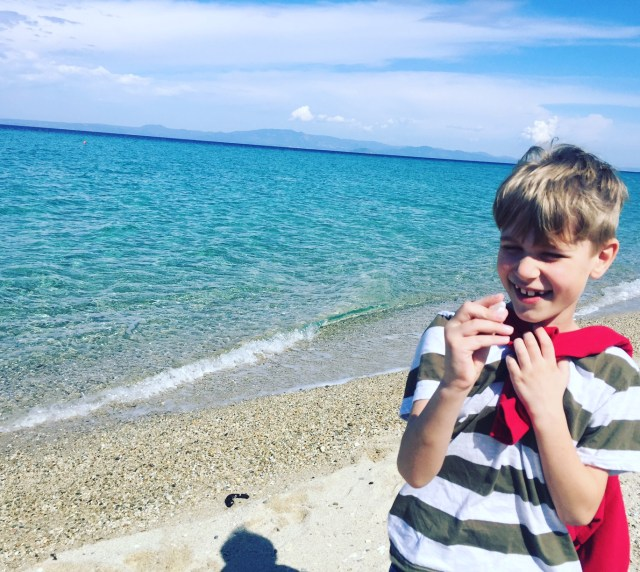 Ollie finding shell on beach