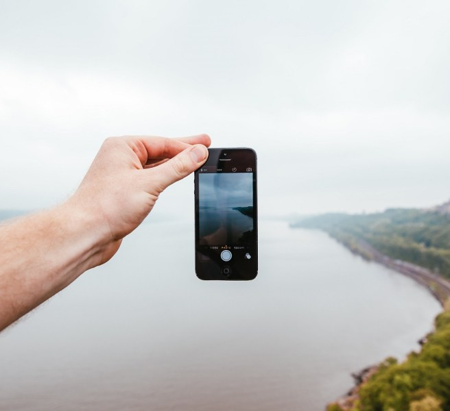 iphone in front of view