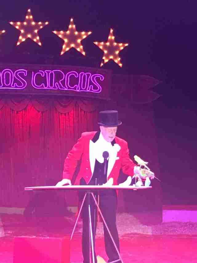 Zippos Circus - Ringmaster Norman Barrett and budgies