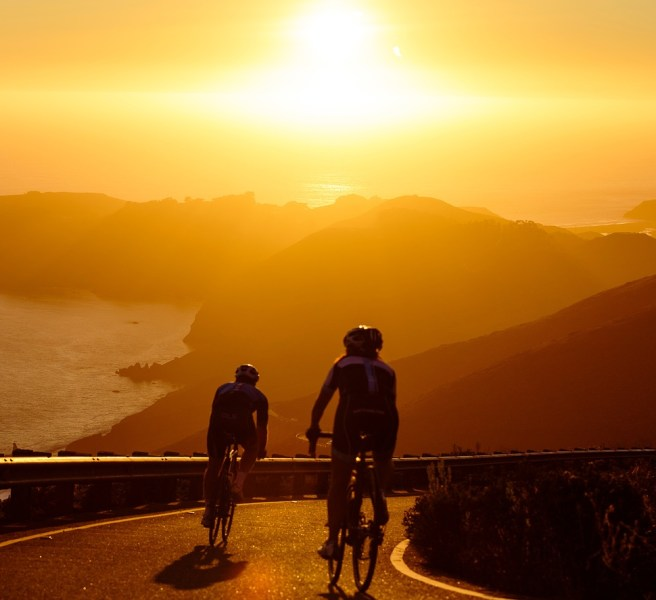 mountain bikes sunset