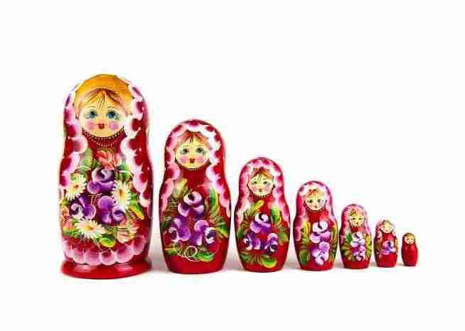 matrioshka dolls on white background