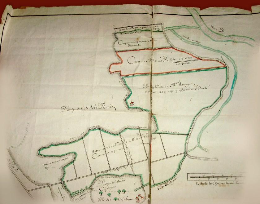 La Ronde et Chalogne sur une carte ancienne