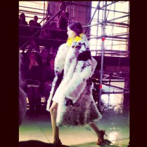 1 way to wear a miu miu coat during the show