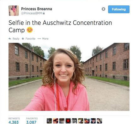 This selfie of a girl in front of Auschwitz has prompted unfair social media outrage