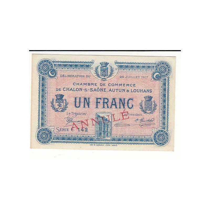 Acheter billet 1 Franc Chambre de Commerce Chalon s/Saône ANNULE P - Chambre De Commerce Chalon Sur Saone