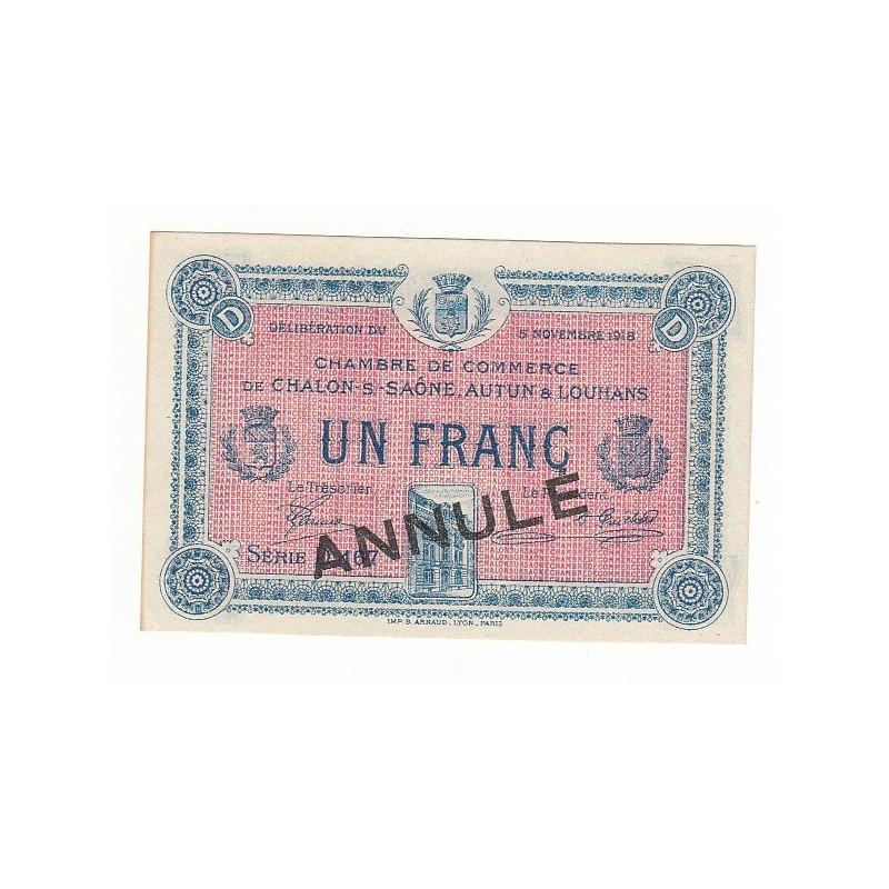 Acheter billet 1 Franc Chambre de Commerce Chalon s/Saône ANNULE - Chambre Du Commerce Chalon Sur Saone