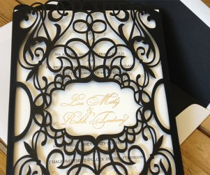 Custom chantilli lace laser cut wedding invitation sleeves or pockets