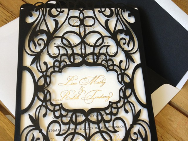 Custom black chantilly lace laser cut invitation pockets/sleeves