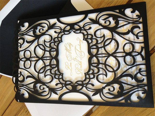 Custom chantilli lace laser cut wedding invitation pocket full size horizontal