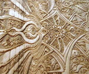 Laser cut and laser engraved wood print by Laura Boreal Isis 4