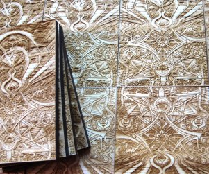 Laser cut and laser engraved wood print by Laura Boreal Isis 2