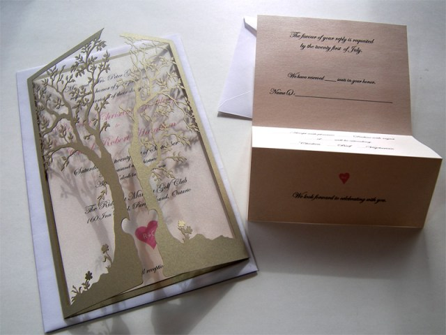 Love tree - custom laser cut wedding invitations closed with open reply card