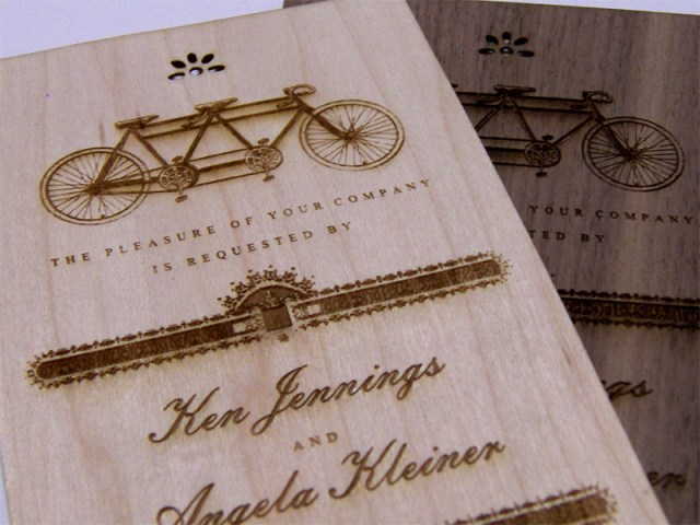 Walnut and maple wedding invitations - close up shot