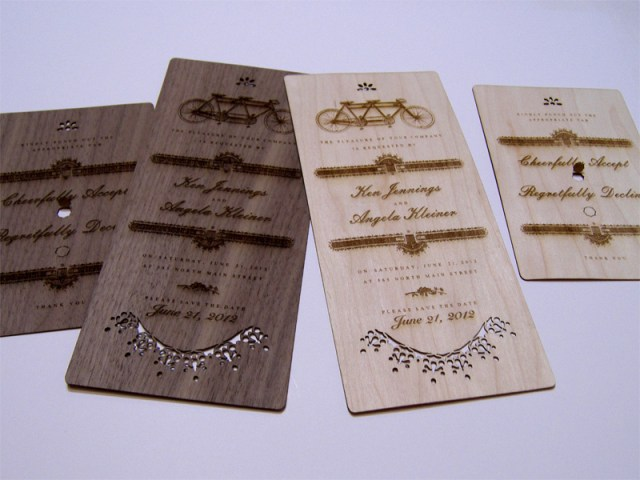 Maple and walnut wood wedding invitations
