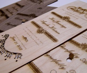 Walnut and Maple wedding invitations