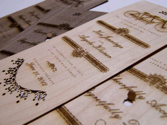 'Built for two' laser cut wood wedding invites and keepsake bookmarks