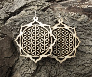 lotus mandala laser cut flower of life wood earrings