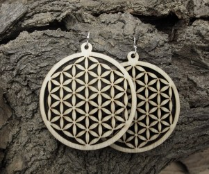 laser cut flower of life wood earrings