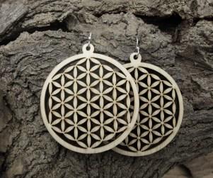 laser cut flower of life wood earrings