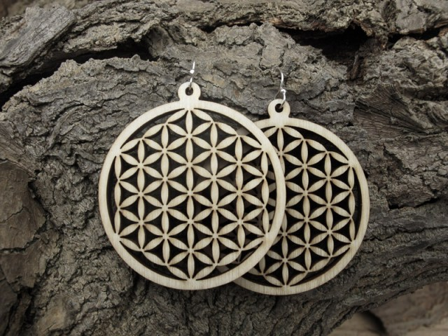 Flower Of Life laser cut wood earrings