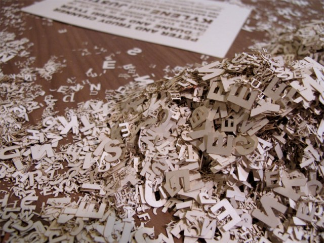 Third photograph of Custom Fontography design laser cut wedding invitations