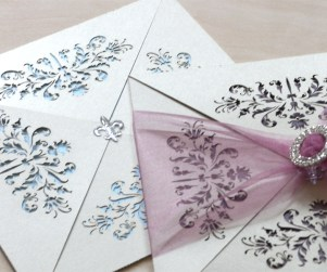 Blue and purple background French Flair laser cut wedding invitations