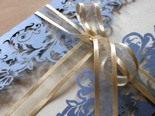 French Flair laser cut wedding invitations in periwinkle blue 3