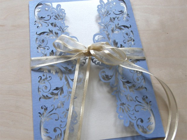 French Flair laser cut wedding invitations in periwinkle blue 2