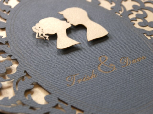 Lovers Cameo Laser Cut Wedding Invitations 3