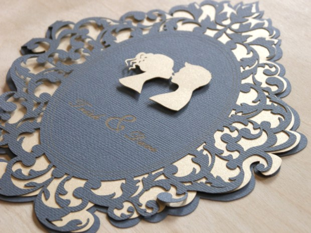 Lovers Cameo Laser Cut Wedding Invitations 1