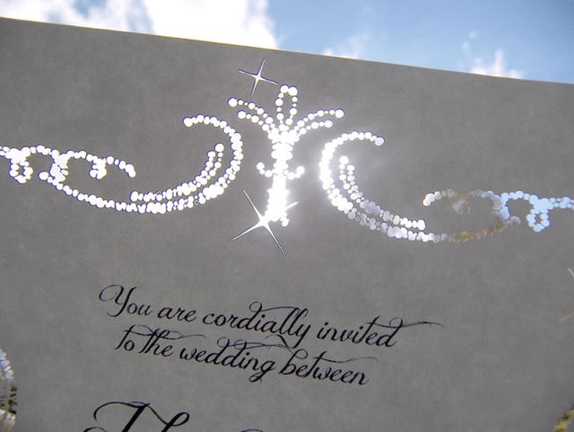 Sparkles and diamonds laser cut wedding invitation, detail