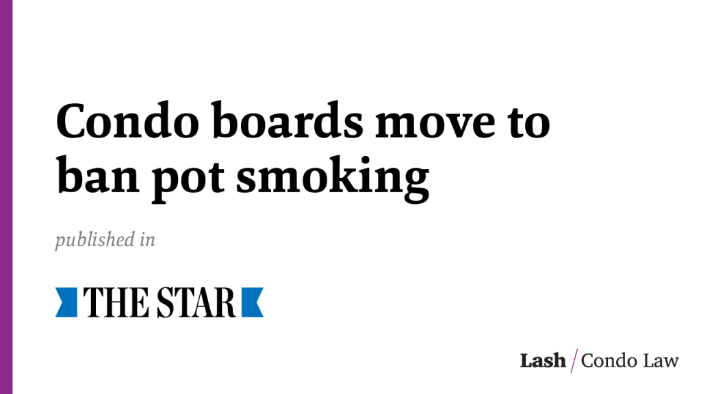 Condo boards move to ban pot smoking