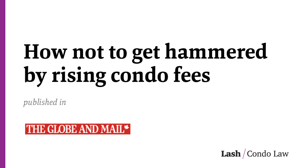 How not to get hammered by rising condo fees
