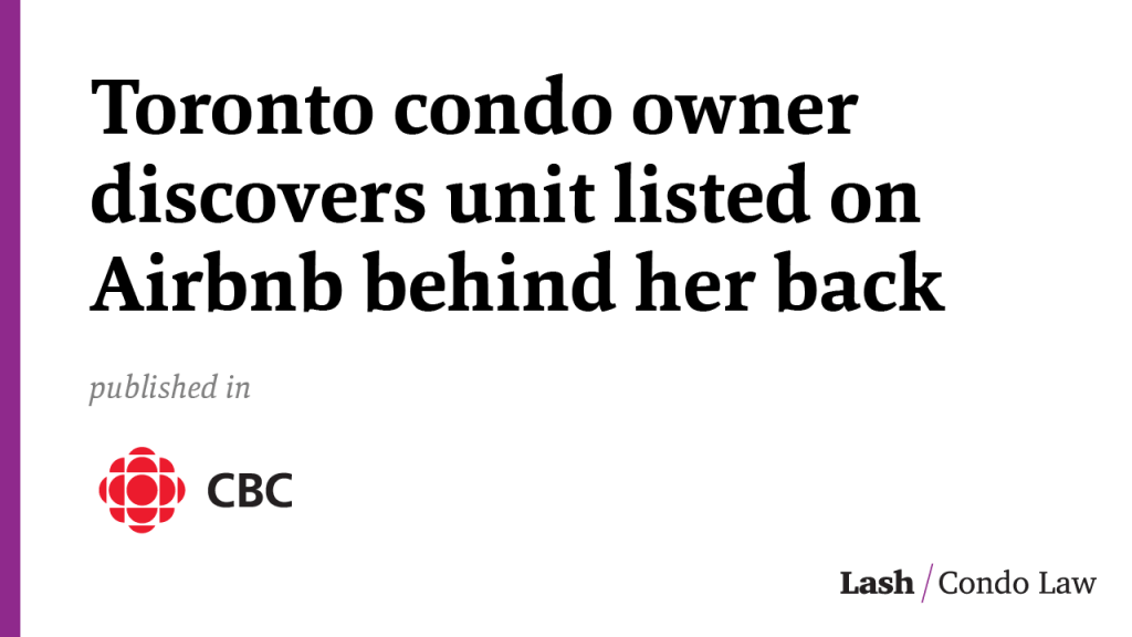 Toronto condo owner discovers unit listed on Airbnb behind her back