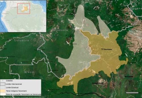 Territorio Yanomami en Venezuela y Brasil. Imagen: Ninja, ISA, Hutukara