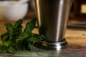 Recipe for Mint Julep-close up on mint