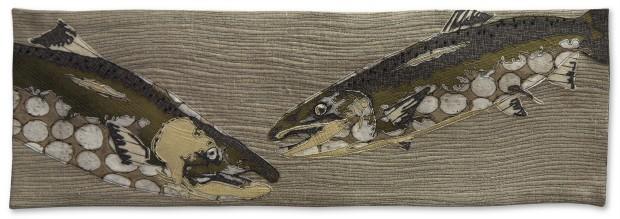 Martha Wolfe - 9 Stitches-Wild Life-Salmon - 69x23