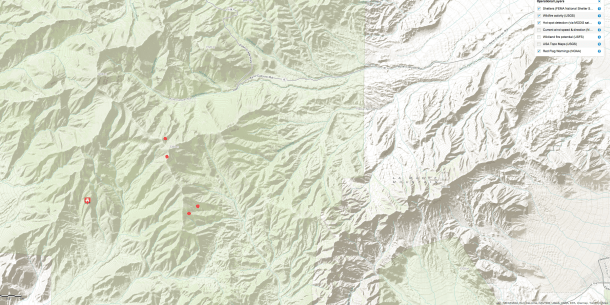 Hot Spot Map Carpenter Fire 1- Mt Charleston July 7, 2013 9:00 pm PST - Click to view Large Map