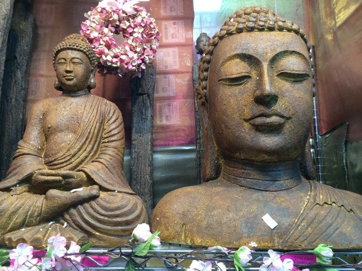 Beautiful Vignette with Buddhas at local floral shop