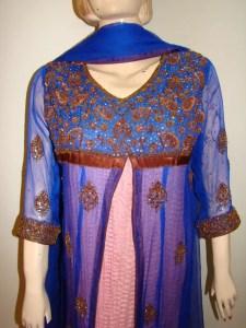 Blue and pink open shirt dress