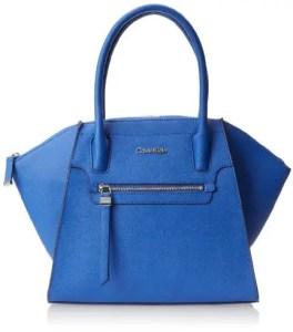 Calvin Klein Key Item Saffiano Satchel Top Handle Bag cornflower color
