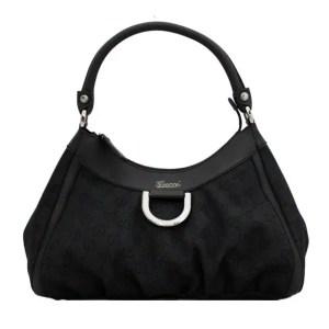 Gucci Monogram Canvas & Leather Hobo designer handbag