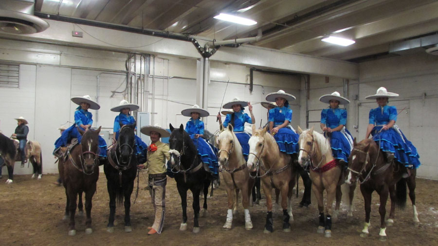 Female members of Escaramuza Descendencia Charra await their entrance into the stock show arena