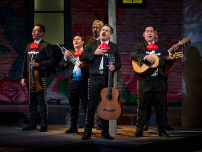 """Federico"" The domineering machismo father played by Bobby Plasenica, is the leader of the all male mariachi group. The mariachis were selected individually as the best in the U.S. None had met nor played together prior to this production. photo-by-adamsviscom"