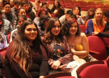 """Agusta Lopez (left) Marlene Cervantes (center) & Eva Bustamante (right) from The New America School in Thornton get ready for some """"Hamilton"""""""