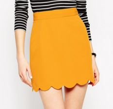 Mini jupe jaune moutarde - Asos
